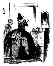 Woman Looking In Mirror, Vinta...