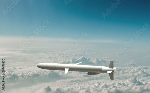 Fotomural Military cruise missile flies over the clouds. 3d illustration.