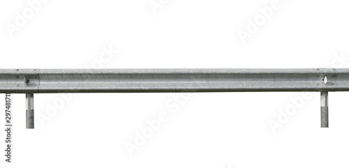 Guard rail road fence steel barrier (with clipping path) isolated on white backg Canvas Print