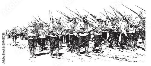 Cuadros en Lienzo  Infantry, vintage illustration.