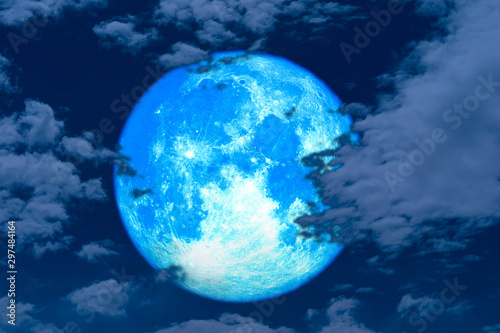 super full harvest moon on night sky back silhouette cloud Canvas Print