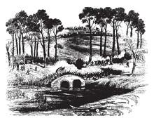 Battle Of Antietam, Vintage Illustration.