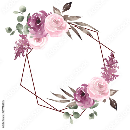 Frames with watercolor hand draw flowers and leaves, and geometry element, for wedding design