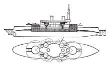 Battleship Massachusetts, Vintage Illustration.