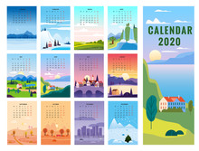 2020 Calendar Minimalistic Landscape Natural Backgrounds Of Four Seasons