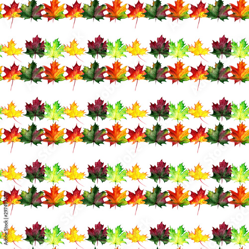 Türaufkleber Künstlich Seamless pattern with autumn maple leaves. Watercolor design for fabric, packaging, paper. Hand drawn