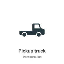 Pickup Truck Vector Icon On White Background. Flat Vector Pickup Truck Icon Symbol Sign From Modern Transportation Collection For Mobile Concept And Web Apps Design.