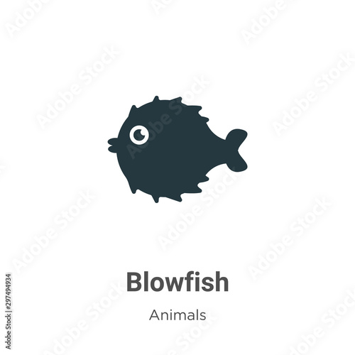 Blowfish vector icon on white background Wallpaper Mural