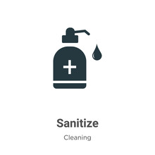 Sanitize Vector Icon On White Background. Flat Vector Sanitize Icon Symbol Sign From Modern Cleaning Collection For Mobile Concept And Web Apps Design.