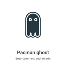 Pacman Ghost Vector Icon On Wh...