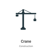Crane Vector Icon On White Bac...
