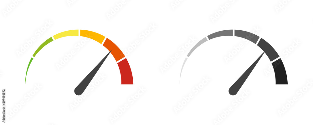Fototapeta Speedometer speed car auto dashboard vector isolated icons. Fast time concept. Speed motion design. Speed indicator icon.