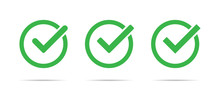 Green Check Mark Icon Set Isol...