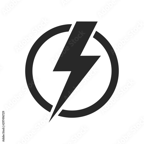 Fototapeta Lightning isolated vector icon. Electric bolt flash icon. Power energy symbol. Thunder icon. Circle concept. obraz