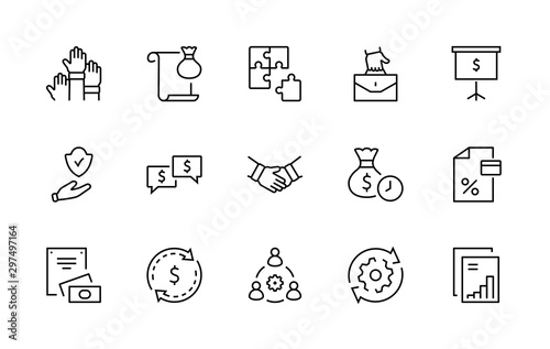 Fotografía Set of Business Cooperation Vector Line Icons