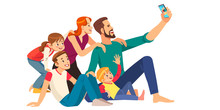 Family, Happiness, Generation And People Concept - Happy Family Making Selfie With Smartphone. Cartoon Vector Illustration.