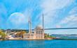 Leinwanddruck Bild - Ortakoy mosque and Bosphorus bridge  - Istanbul, Turkey