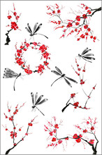Set Of Sakura Blossom Branches And Dragonflies. Pink And Red Stylized Flowers Of Plum Mei And  Wild Cherry . Watercolor And Ink Illustration Of Tree In Style Sumi-e, Go-hua Oriental Traditional