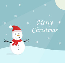 Illustration Of A Snowman In The Winter. Christmas Greetings With Blue Background