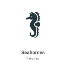 Seahorses Vector Icon On White...