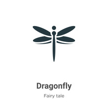 Dragonfly Vector Icon On White...