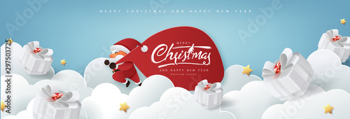 Wall Murals Height scale Santa Claus with a huge bag on the run to delivery christmas gifts on white cloud background.Merry Christmas text Calligraphic Lettering Vector illustration.