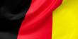 Leinwanddruck Bild - National Fabric Wave Closeup Flag of Belgium Waving in the Wind. 3d rendering illustration.