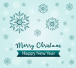 Blue snowflakes and Merry Christmas and Happy New Year text. Christmas concept , vector illustration.