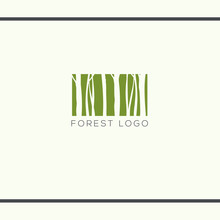 Green Rectangle With Tree Trunks Silhouette. Forest In Rectangle Like Barcode. Vector Logo Design Template