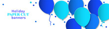 Horizontal Banner For Congratulations. Blue Flying Balls On A White Background. Design In The Style Of Paper Cut, Art For Birthday, Wedding.
