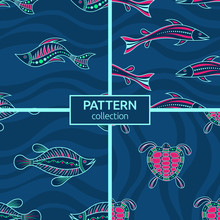 Set Of Four Seamless Fashion Colorful Fish And Turtle Patterns. Australian Art. Aboriginal Painting Style, Aboriginal Ornament.