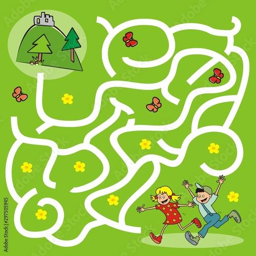 Foto auf AluDibond Auf der Straße Board game, labyrinth, running kids go to the ruin, vector illustration