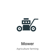 Mower Vector Icon On White Bac...