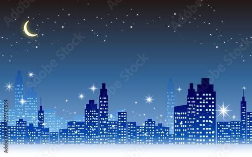 キラキラ輝く美しい夜景のイラスト素材・イルミネーション三日月 Fototapeta