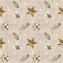 Christmas Seamless Pattern For Cards, Wrapping Paper, Invitations And Other Purposes.Watercolor Seamless Christmas Pattern