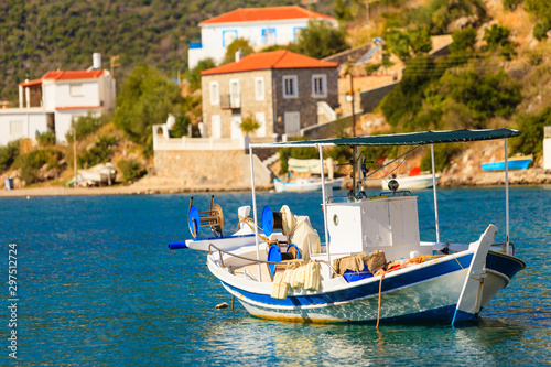 Photo Stands Pale violet Fishing boat in greek marina