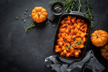 Oven Baked Pumpkin Slices With Rosemary And Seeds, Healthy Vegetarian Food, Top View