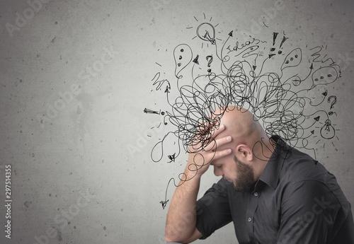 Fotografía  Adhd stress anxiety adult hard man mess