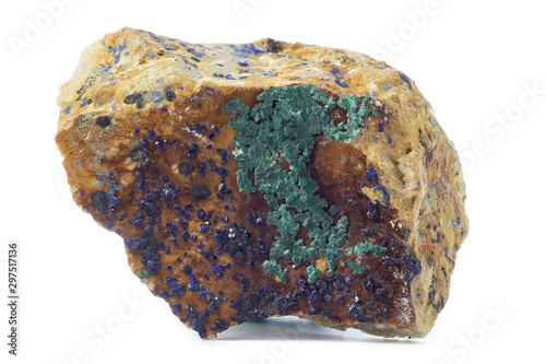 Rock with azurite mineral from Morocco isolated on a pure white background Wallpaper Mural