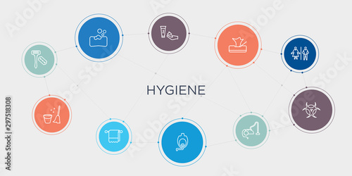 hygiene 10 stroke points round design Tablou Canvas