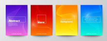 Set Of Abstract Wave Line On Gradient Background For Brochure, Flyer, Poster, Leaflet, Annual Report, Book Cover, Banner. Graphic Design Layout Template, A4 Size