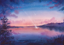 Watercolor Falling Star And Lake Landscape. Hand Painted Natural Art.