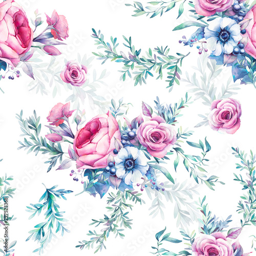 akwarela-rocznika-kwiatowy-wzor-recznie-malowane-powtarzajace-sie-tekstury-z-bukietami-kwiatow-na-bialym-tle-piwonia-roze-zawilec