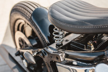 Leather Motorcycle Seat With Springs - Close-up