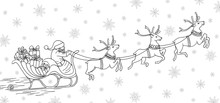 Hand Drawn Black And White Illustration Of Santa Claus Riding His Reindeer Sleigh