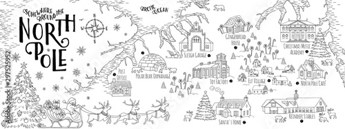 Stampa su Tela Fantasy map of the North Pole, showing the home and toy factory of Santa Claus, reindeer stables, elf village etc