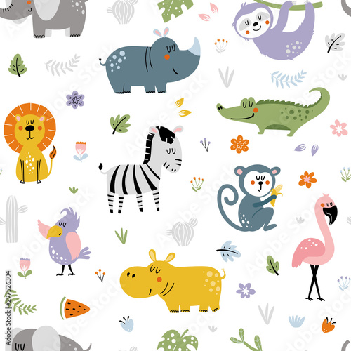 fototapeta na szkło African animals pattern for kids