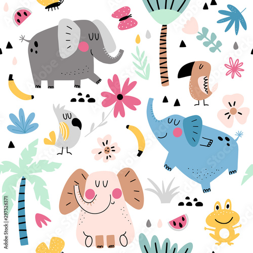plakat Tropical animals seamless pattern