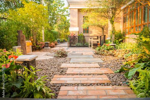 decorative garden, walk way around the house