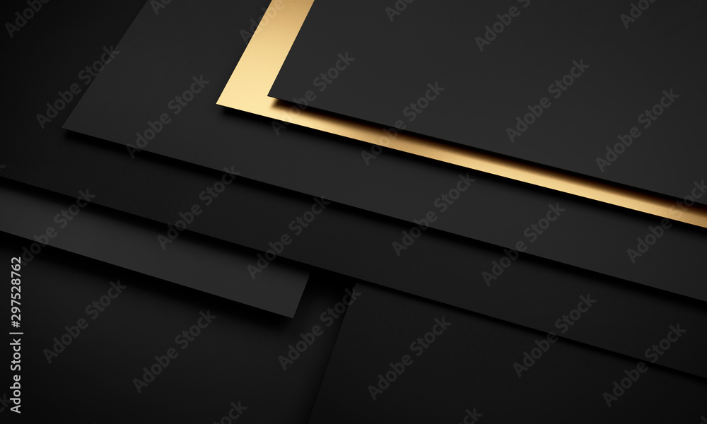 Fototapety, obrazy: Mockup of black and dark gray and golden cards - 3D illustration